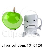 Clipart Of A 3d Unhappy Coffee Mug Character Holding Up A Green Apple Royalty Free Illustration