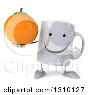 Clipart Of A 3d Happy Coffee Mug Character Holding And Pointing To An Orange Royalty Free Illustration