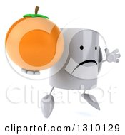 Clipart Of A 3d Happy Coffee Mug Character Facing Slightly Right Jumping And Holding An Orange Royalty Free Illustration