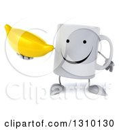 Clipart Of A 3d Happy Coffee Mug Character Holding A Banana Royalty Free Illustration