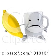 Clipart Of A 3d Unhappy Coffee Mug Character Holding Up A Banana Royalty Free Illustration