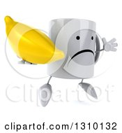 Clipart Of A 3d Unhappy Coffee Mug Character Facing Slightly Right Jumping And Holding A Banana Royalty Free Illustration