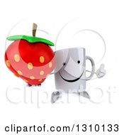 Clipart Of A 3d Happy Coffee Mug Character Holding Up A Thumb And A Strawberry Royalty Free Illustration