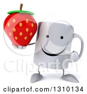 Clipart Of A 3d Happy Coffee Mug Character Holding And Pointing To A Strawberry Royalty Free Illustration