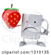 Clipart Of A 3d Unhappy Coffee Mug Character Holding A Strawberry Royalty Free Illustration