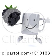 Clipart Of A 3d Happy Coffee Mug Character Jumping And Holding A Blackberry Royalty Free Illustration