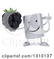 Clipart Of A 3d Happy Coffee Mug Character Holding Up A Finger And A Blackberry Royalty Free Illustration