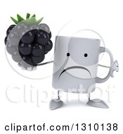 Clipart Of A 3d Unhappy Coffee Mug Character Holding A Thumb Down And A Blackberry Royalty Free Illustration