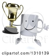 Clipart Of A 3d Happy Coffee Mug Character Jumping And Holding A Trophy Royalty Free Illustration