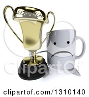 Clipart Of A 3d Unhappy Coffee Mug Character Holding Up A Trophy Royalty Free Illustration