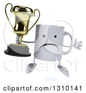 Clipart Of A 3d Unhappy Coffee Mug Character Jumping And Holding A Trophy Royalty Free Illustration