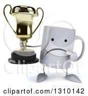 Clipart Of A 3d Unhappy Coffee Mug Character Holding And Pointing To A Trophy Royalty Free Illustration