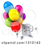 Clipart Of A 3d Unhappy Coffee Mug Character Holding Up A Thumb Down And Party Balloons Royalty Free Illustration