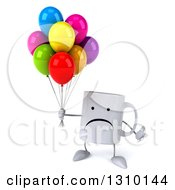 Clipart Of A 3d Unhappy Coffee Mug Character Shrugging And Holding Party Balloons Royalty Free Illustration