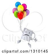 Clipart Of A 3d Unhappy Coffee Mug Character Floating And Holding Party Balloons Royalty Free Illustration