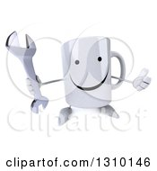 Clipart Of A 3d Happy Coffee Mug Character Holding Up A Thumb And A Wrench Royalty Free Illustration