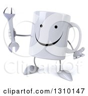 Clipart Of A 3d Happy Coffee Mug Character Shrugging And Holding A Wrench Royalty Free Illustration