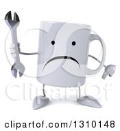 Clipart Of A 3d Unhappy Coffee Mug Character Holding A Wrench And Thumb Down Royalty Free Illustration