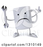 Clipart Of A 3d Unhappy Coffee Mug Character Holding Up A Finger And A Wrench Royalty Free Illustration