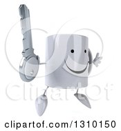 Clipart Of A 3d Happy Coffee Mug Character Facing Slightly Right Jumping And Holding A Key Royalty Free Illustration