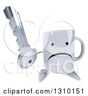 Clipart Of A 3d Unhappy Coffee Mug Character Holding Up A Key Royalty Free Illustration