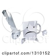 Clipart Of A 3d Unhappy Coffee Mug Character Holding Up A Key And Thumb Down Royalty Free Illustration