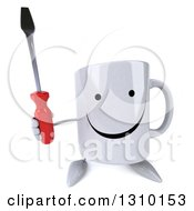 Clipart Of A 3d Happy Coffee Mug Character Holding Up A Screwdriver Royalty Free Illustration