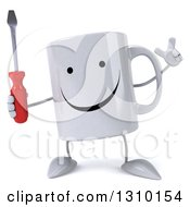 Clipart Of A 3d Happy Coffee Mug Character Holding Up Finger And A Screwdriver Royalty Free Illustration