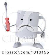 Clipart Of A 3d Unhappy Coffee Mug Character Holding A Screwdriver Royalty Free Illustration