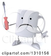 Clipart Of A 3d Unhappy Coffee Mug Character Shrugging And Holding A Screwdriver Royalty Free Illustration