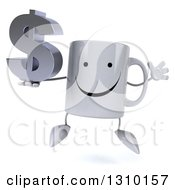 Clipart Of A 3d Happy Coffee Mug Character Jumping And Holding A Dollar Symbol Royalty Free Illustration