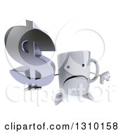 Clipart Of A 3d Unhappy Coffee Mug Character Holding Up A Dollar Symbol And Thumb Down Royalty Free Illustration