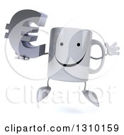 Clipart Of A 3d Happy Coffee Mug Character Jumping And Holding A Euro Symbol Royalty Free Illustration