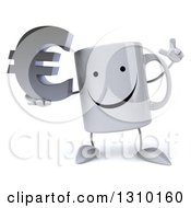 Clipart Of A 3d Happy Coffee Mug Character Holding Up A Finger And A Euro Symbol Royalty Free Illustration