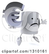 Clipart Of A 3d Unhappy Coffee Mug Character Facing Slightly Right Jumping And Holding A Euro Symbol Royalty Free Illustration
