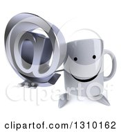 Clipart Of A 3d Happy Coffee Mug Character Holding Up An Email Arobase At Symbol Royalty Free Illustration