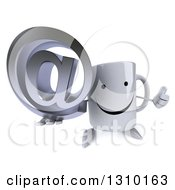 Clipart Of A 3d Happy Coffee Mug Character Holding Up A Thumb And An Email Arobase At Symbol Royalty Free Illustration