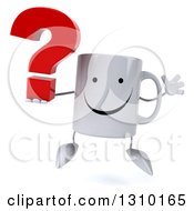Clipart Of A 3d Happy Coffee Mug Character Jumping And Holding A Question Mark Royalty Free Illustration