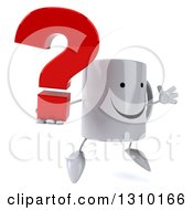 Clipart Of A 3d Happy Coffee Mug Character Facing Slightly Right Jumping And Holding A Question Mark Royalty Free Illustration