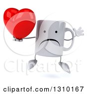 Clipart Of A 3d Unhappy Coffee Mug Character Jumping And Holding A Heart Royalty Free Illustration