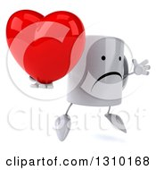 Clipart Of A 3d Unhappy Coffee Mug Character Facing Slightly Right Jumping And Holding A Heart Royalty Free Illustration