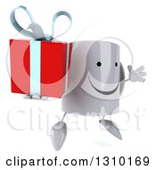 Clipart Of A 3d Happy Coffee Mug Character Facing Slightly Right Jumping And Holding A Gift Royalty Free Illustration