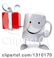 Clipart Of A 3d Happy Coffee Mug Character Holding And Pointing To A Gift Royalty Free Illustration