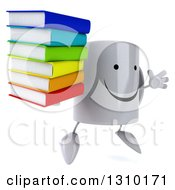 Clipart Of A 3d Happy Coffee Mug Character Facing Slightly Right Jumping And Holding A Stack Of Books Royalty Free Illustration