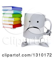 Clipart Of A 3d Unhappy Coffee Mug Character Holding A Stack Of Books Royalty Free Illustration