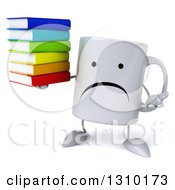 Clipart Of A 3d Unhappy Coffee Mug Character Shrugging And Holding A Stack Of Books Royalty Free Illustration