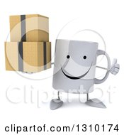 Clipart Of A 3d Happy Coffee Mug Character Holding A Thumb Up And Boxes Royalty Free Illustration