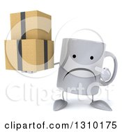 Clipart Of A 3d Unhappy Coffee Mug Character Holding And Pointing To Boxes Royalty Free Illustration