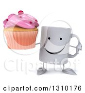 Clipart Of A 3d Happy Coffee Mug Character Holding A Pink Frosted Cupcake And Thumb Down Royalty Free Illustration