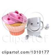 Clipart Of A 3d Happy Coffee Mug Character Holding Up A Thumb And A Pink Frosted Cupcake Royalty Free Illustration